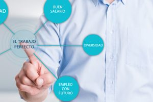 Searching for perfect job concept with a man pressing button on transparent touch screen
